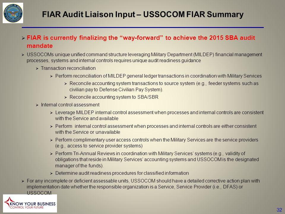 FIAR Audit Liaison Input – USSOCOM FIAR Summary