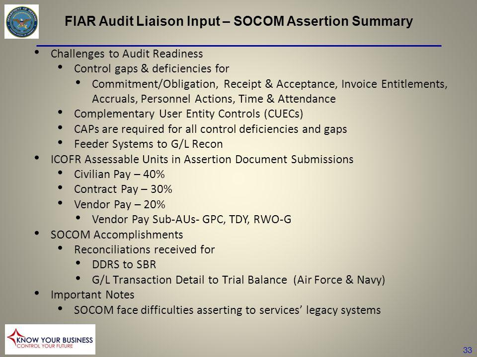 FIAR Audit Liaison Input – SOCOM Assertion Summary