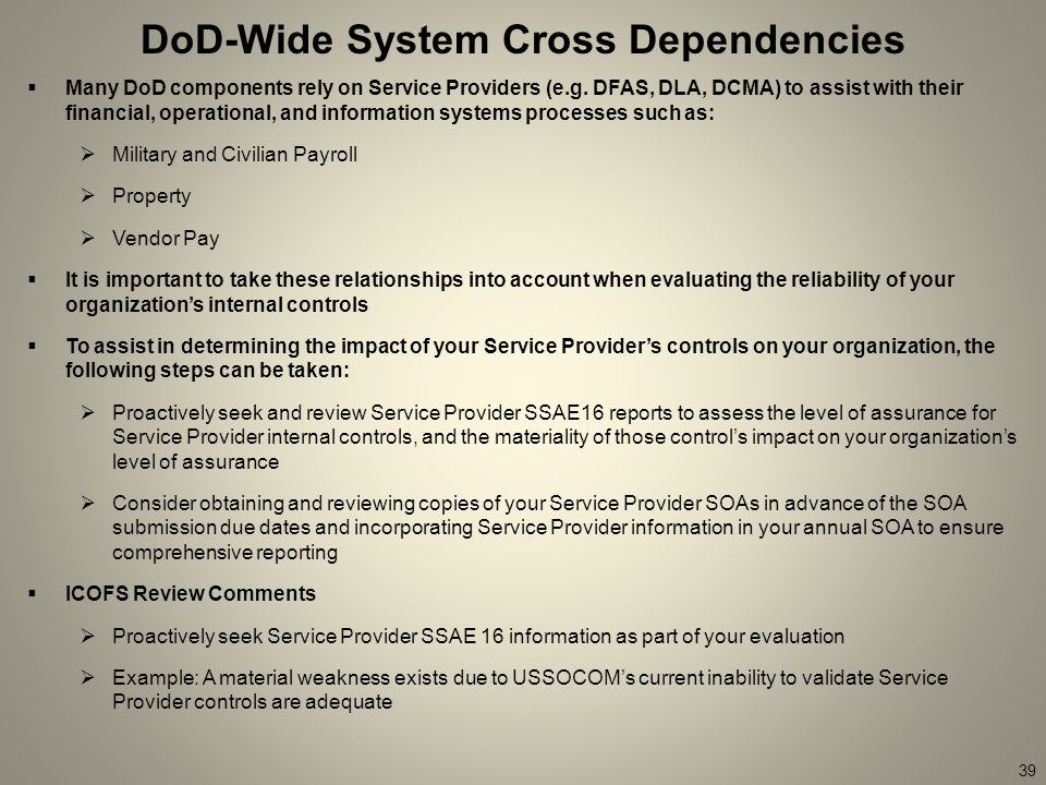 DoD-Wide System Cross Dependencies