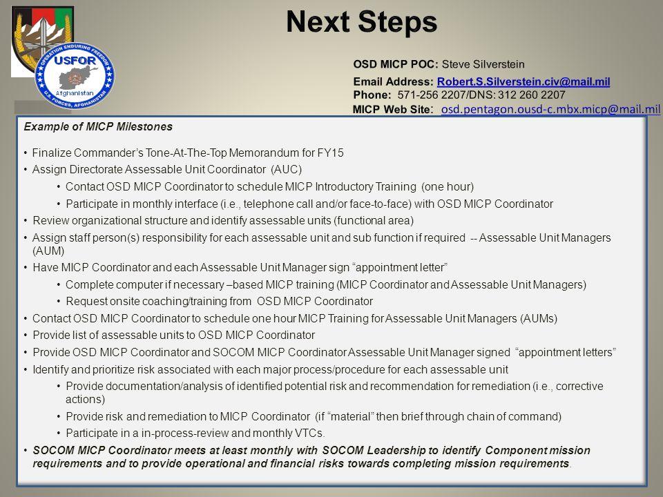 Next Steps OSD MICP POC: Steve Silverstein Email Address: Robert. S