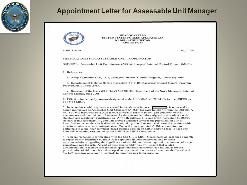 Appointment Letter for Assessable Unit Manager