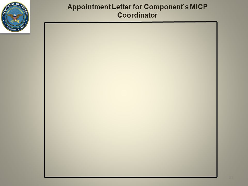 Appointment Letter for Component's MICP Coordinator