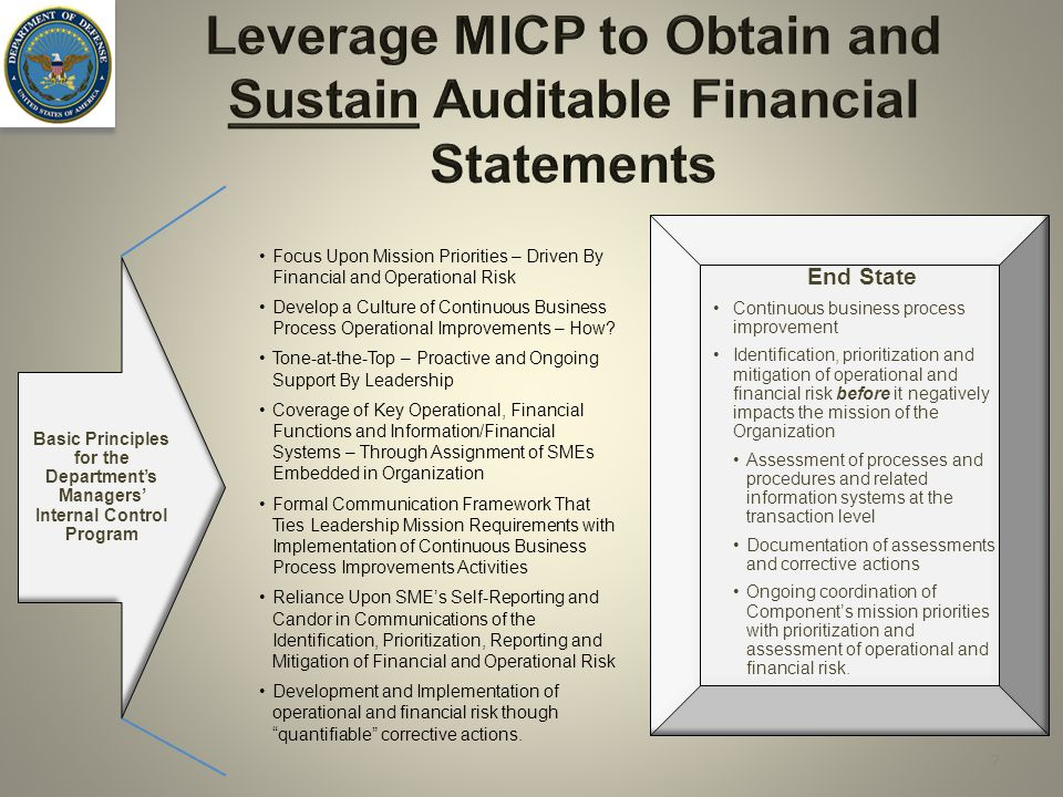 Leverage MICP to Obtain and Sustain Auditable Financial Statements