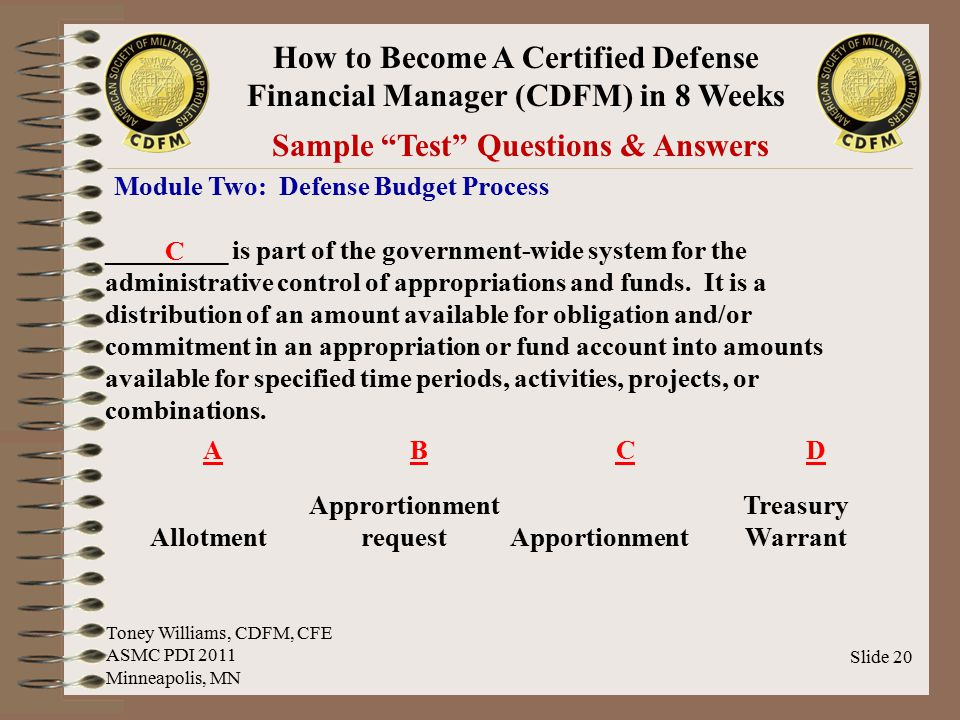 Sample Test Questions & Answers Apprortionment request