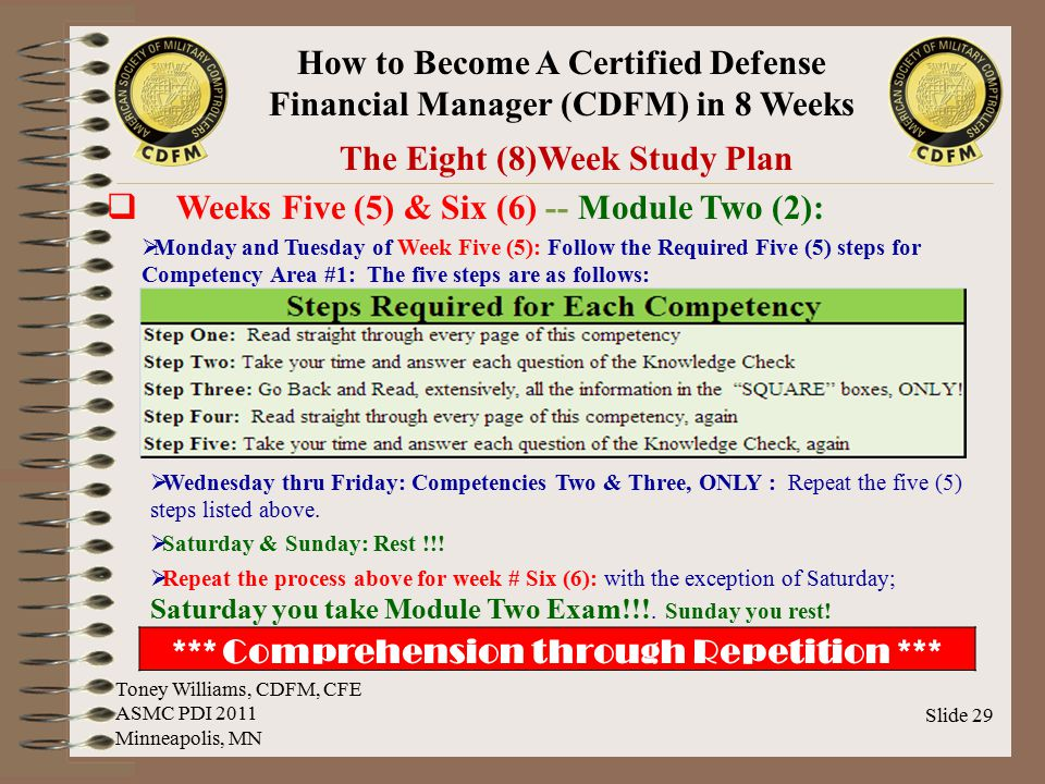 The Eight (8)Week Study Plan *** Comprehension through Repetition ***