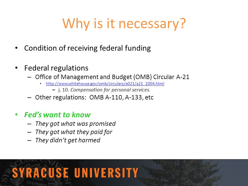 Why is it necessary Condition of receiving federal funding