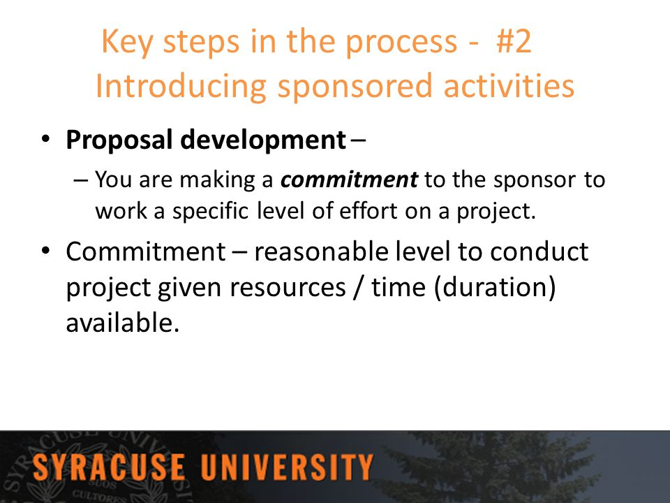 Key steps in the process - #2 Introducing sponsored activities