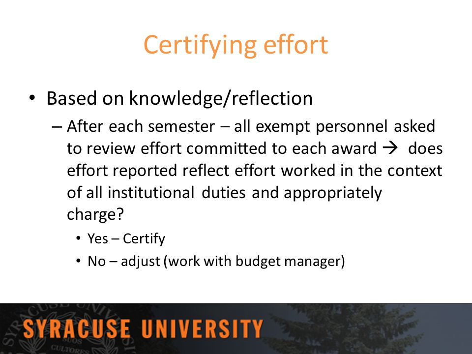 Certifying effort Based on knowledge/reflection