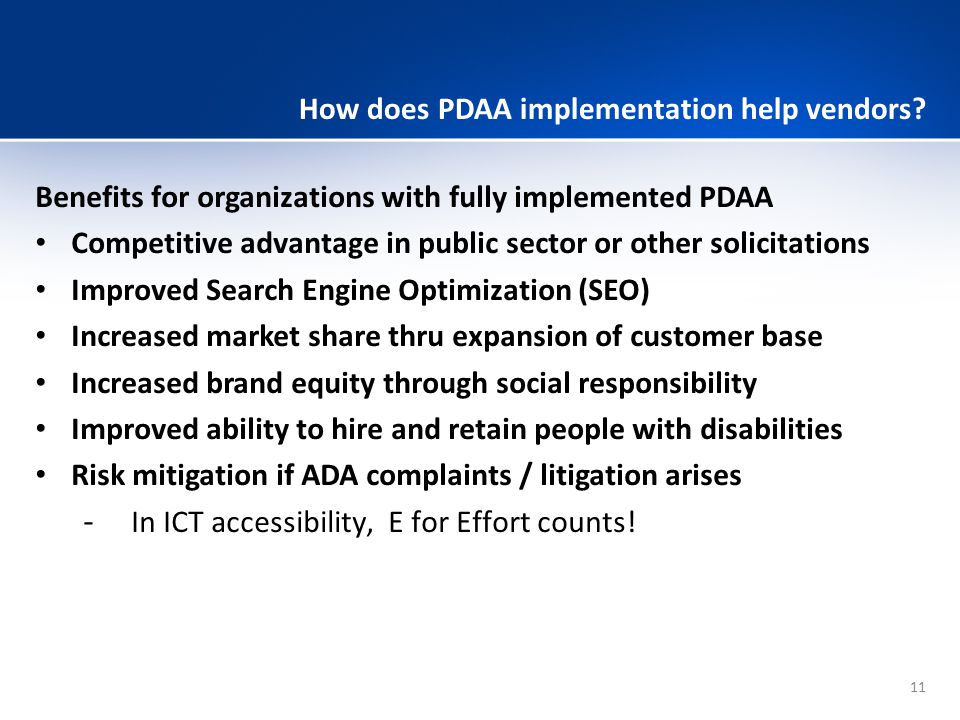 How does PDAA implementation help vendors