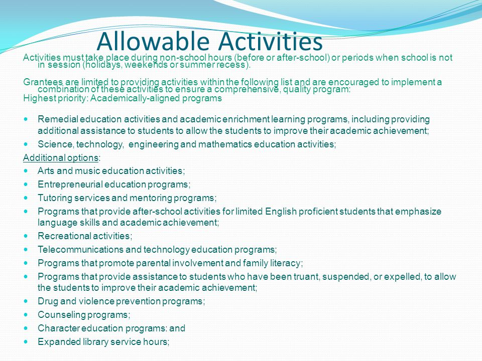 Allowable Activities
