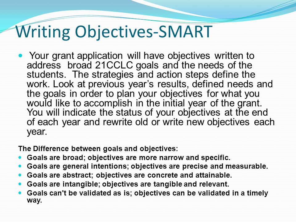 Writing Objectives-SMART