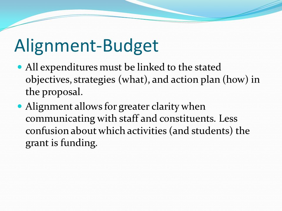 Alignment-Budget All expenditures must be linked to the stated objectives, strategies (what), and action plan (how) in the proposal.