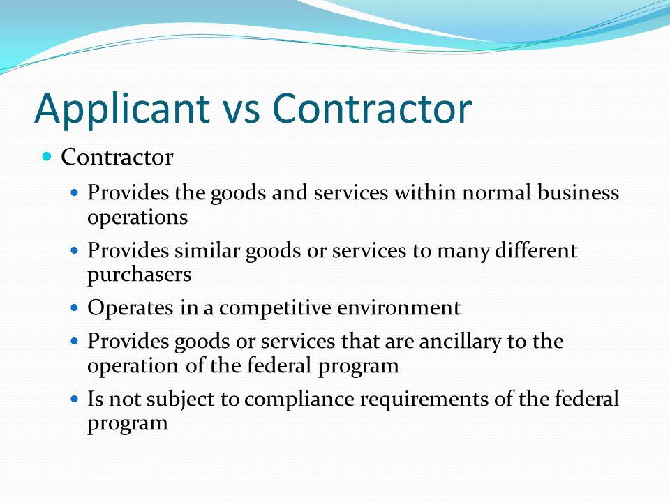 Applicant vs Contractor