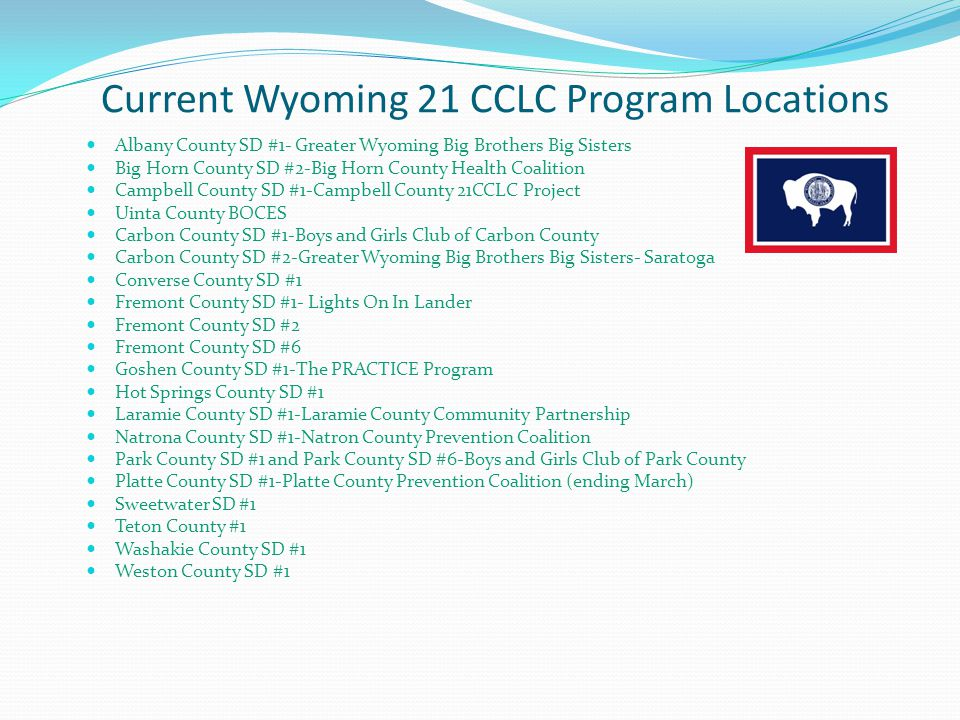 Current Wyoming 21 CCLC Program Locations
