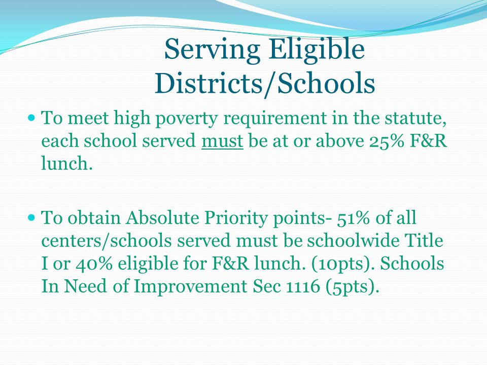 Serving Eligible Districts/Schools