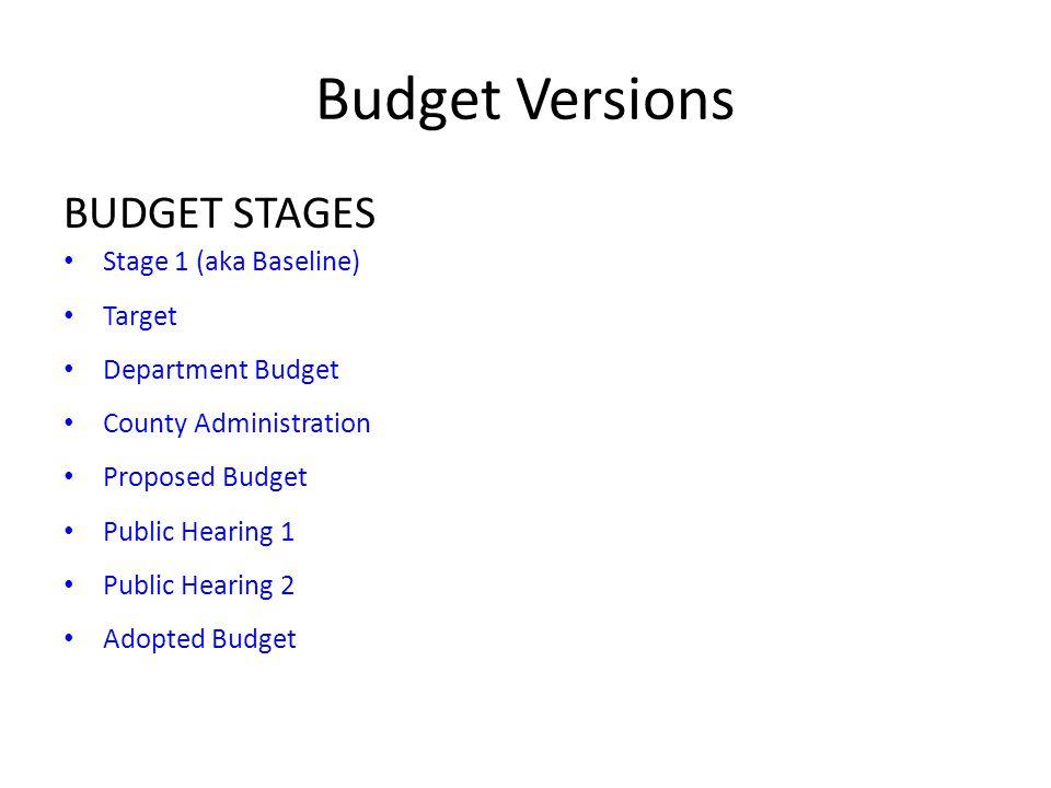 Budget Versions BUDGET STAGES Stage 1 (aka Baseline) Target