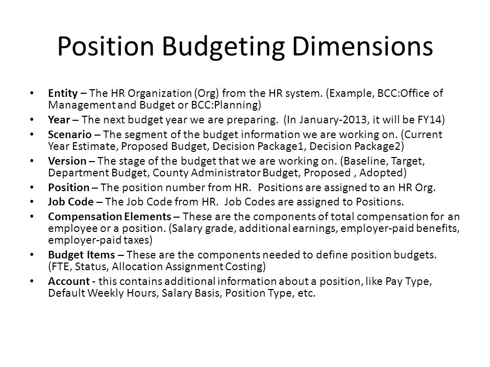 Position Budgeting Dimensions