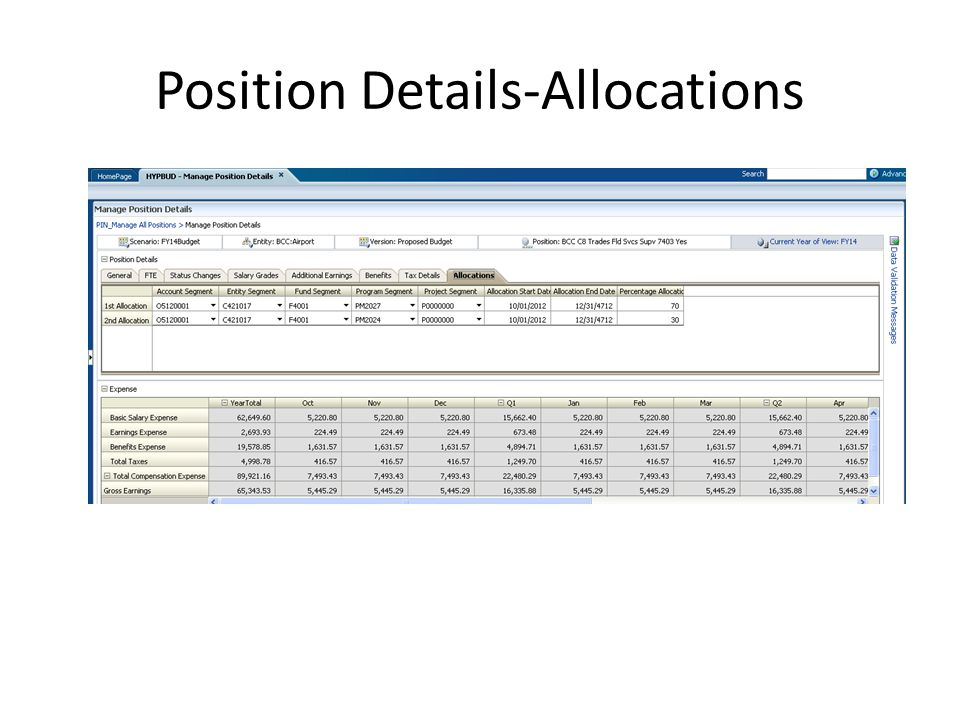 Position Details-Allocations