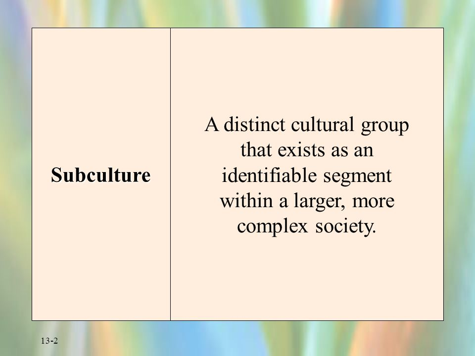 Subculture A distinct cultural group that exists as an identifiable segment within a larger, more complex society.