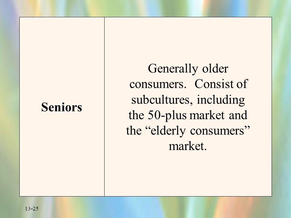 Seniors Generally older consumers.