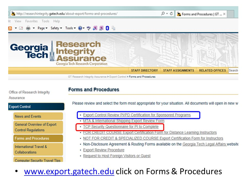 www.export.gatech.edu click on Forms & Procedures