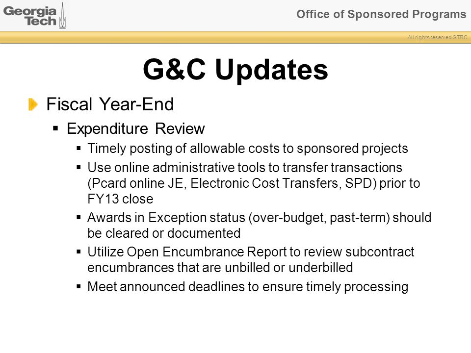 G&C Updates Fiscal Year-End Expenditure Review