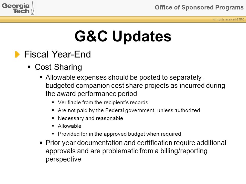 G&C Updates Fiscal Year-End Cost Sharing