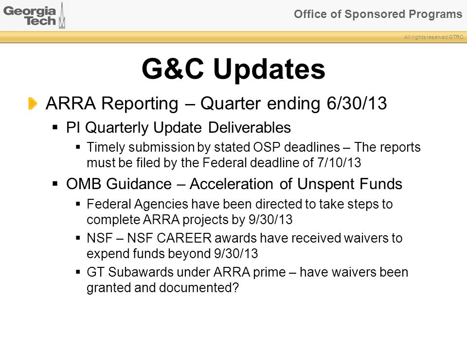 G&C Updates ARRA Reporting – Quarter ending 6/30/13