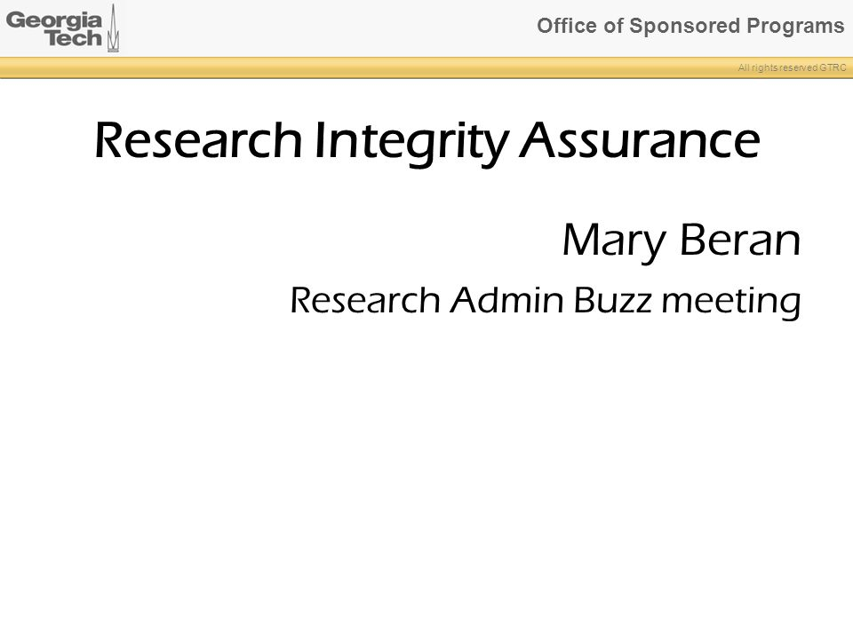 Research Integrity Assurance