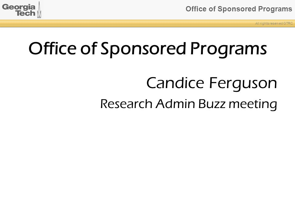 Office of Sponsored Programs
