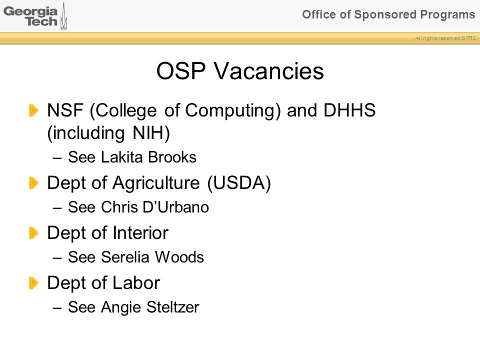 OSP Vacancies NSF (College of Computing) and DHHS (including NIH)