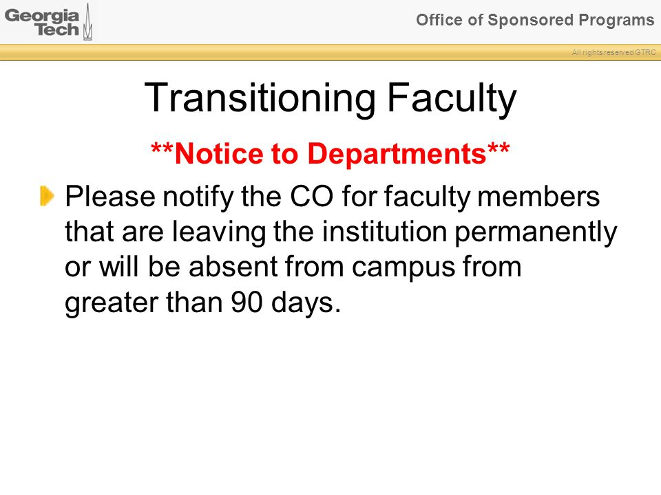 Transitioning Faculty