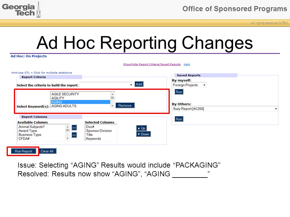 Ad Hoc Reporting Changes