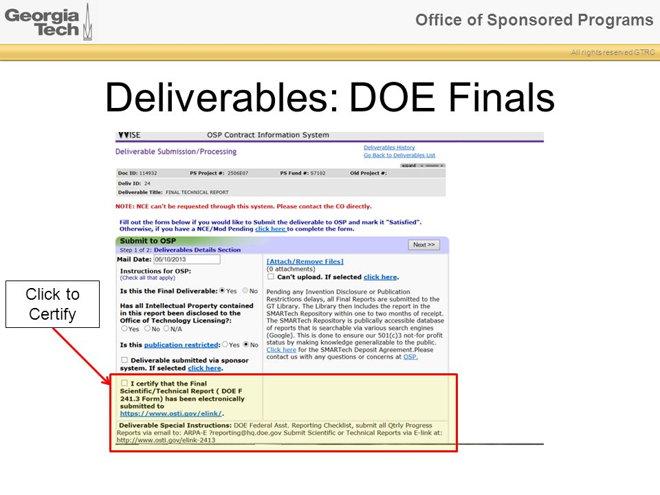 Deliverables: DOE Finals