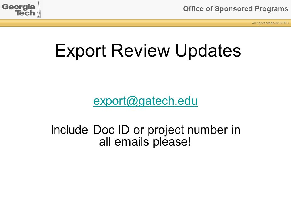 Include Doc ID or project number in all emails please!