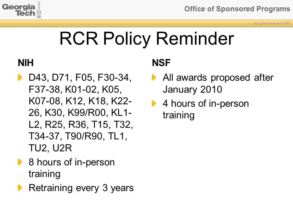 RCR Policy Reminder NIH NSF