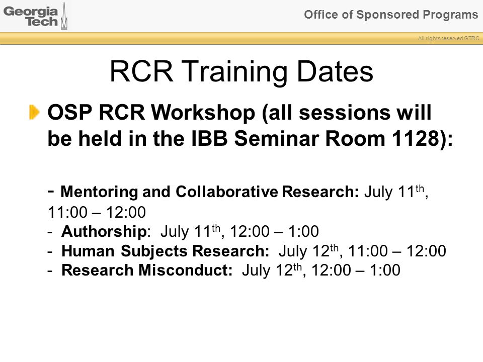 RCR Training Dates