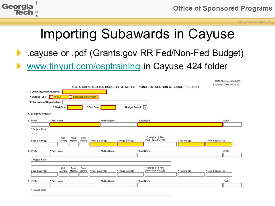 Importing Subawards in Cayuse