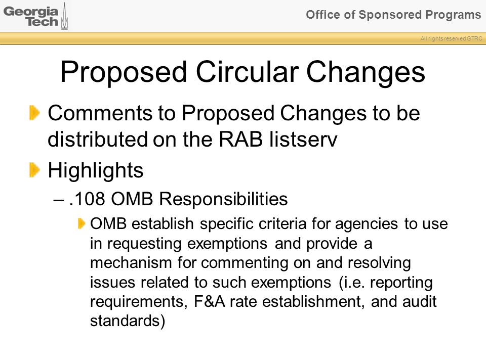 Proposed Circular Changes