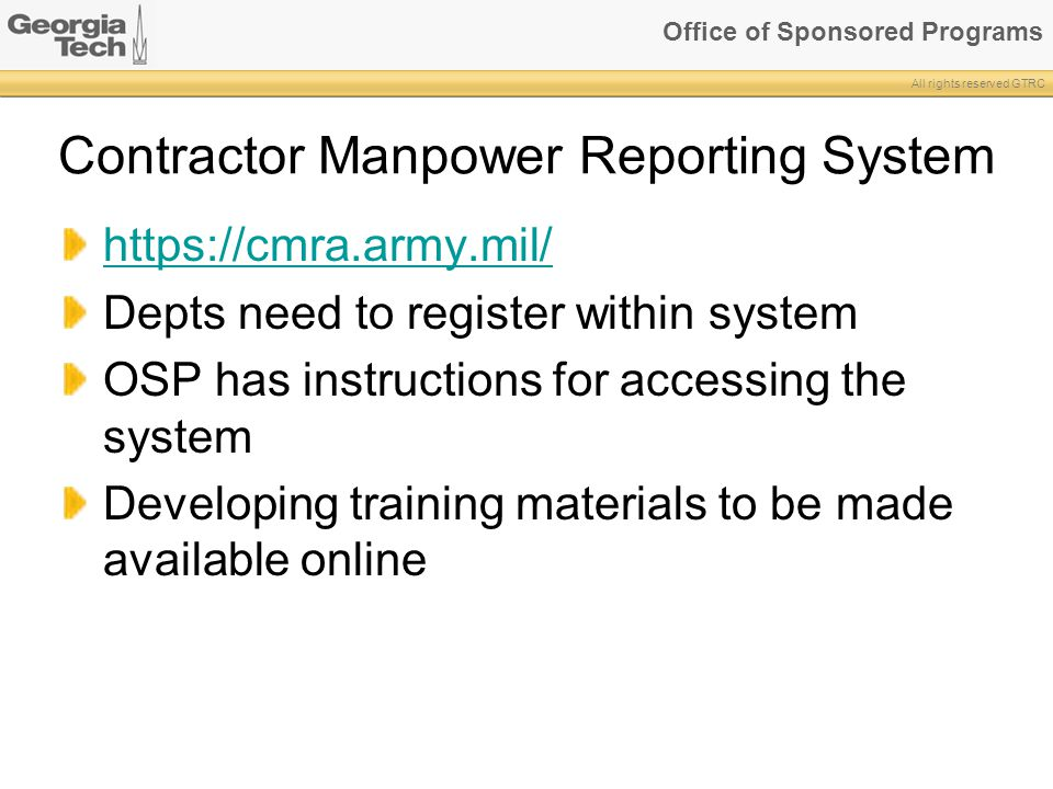 Contractor Manpower Reporting System