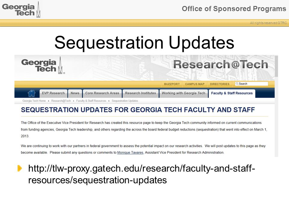Sequestration Updates