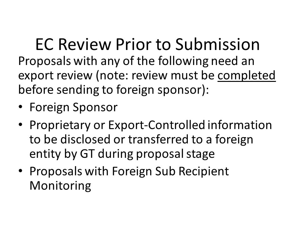 EC Review Prior to Submission