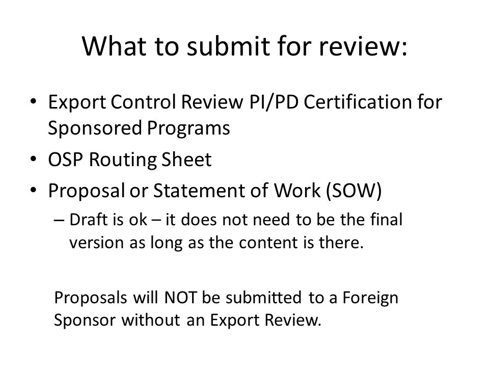 What to submit for review: