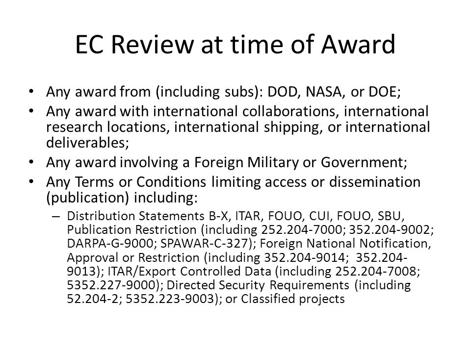 EC Review at time of Award