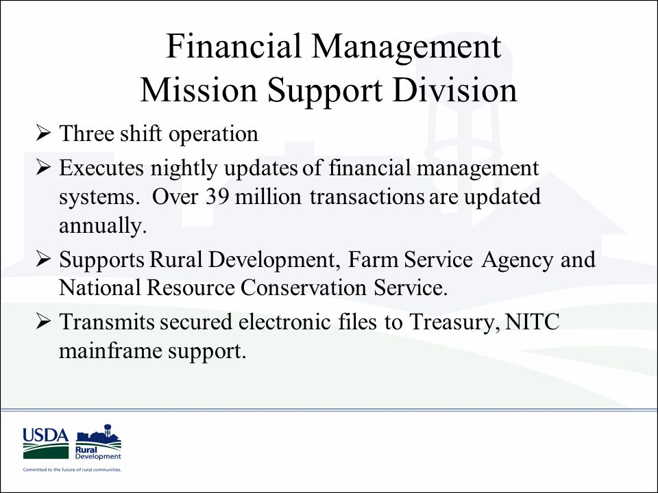 Financial Management Mission Support Division