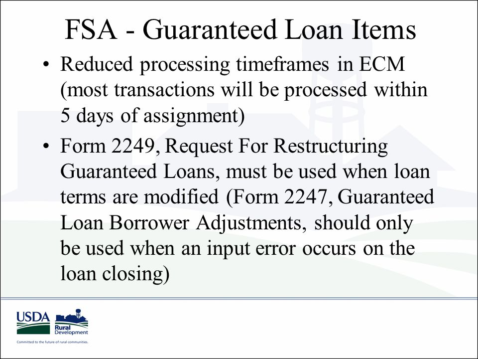 FSA - Guaranteed Loan Items