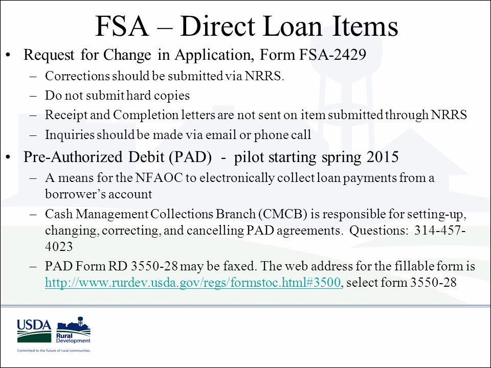 FSA – Direct Loan Items Request for Change in Application, Form FSA-2429. Corrections should be submitted via NRRS.
