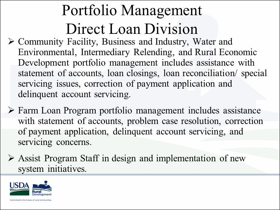 Portfolio Management Direct Loan Division