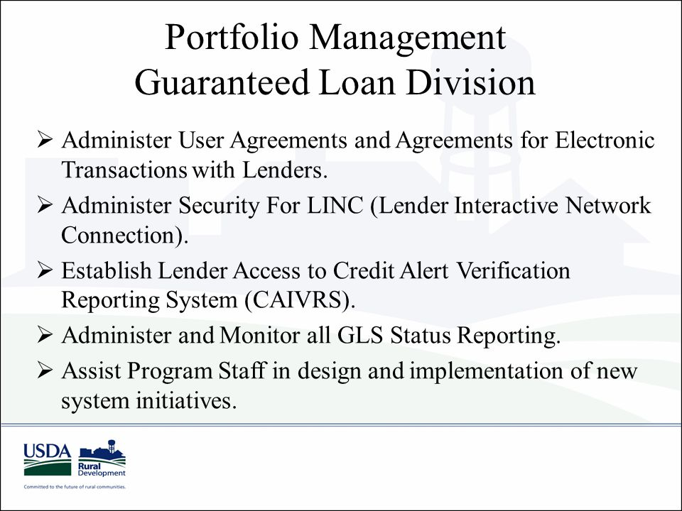 Portfolio Management Guaranteed Loan Division