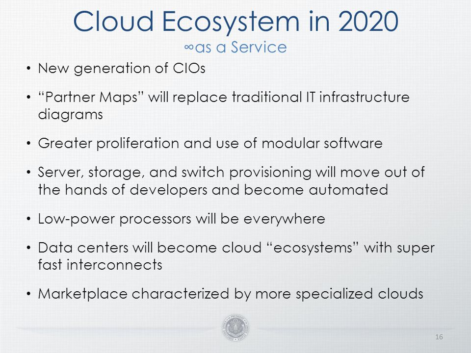 Cloud Ecosystem in 2020 ∞as a Service